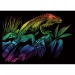 Set gravura pe folie curcubeu mica Iguana