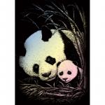 Set gravura pe folie holografica Panda de bambus