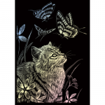Set gravura pe folie holografica Pisicuta si fluturele