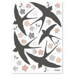 Sticker A3 Flower&Swallow
