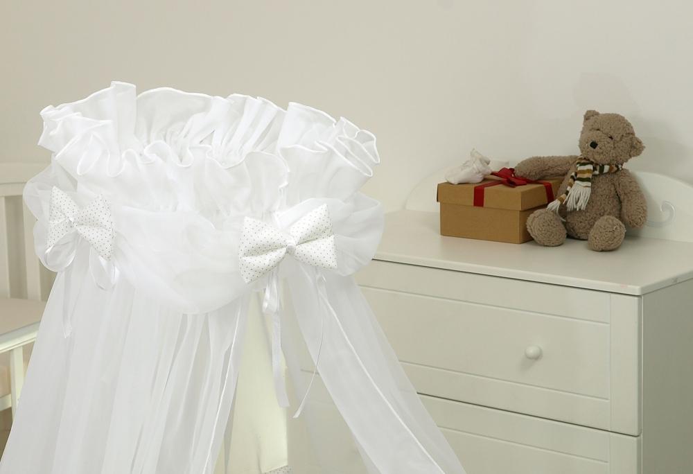 Baldachin din tul pentru patut bebe Sweet Dreams White 160 x 600 cm