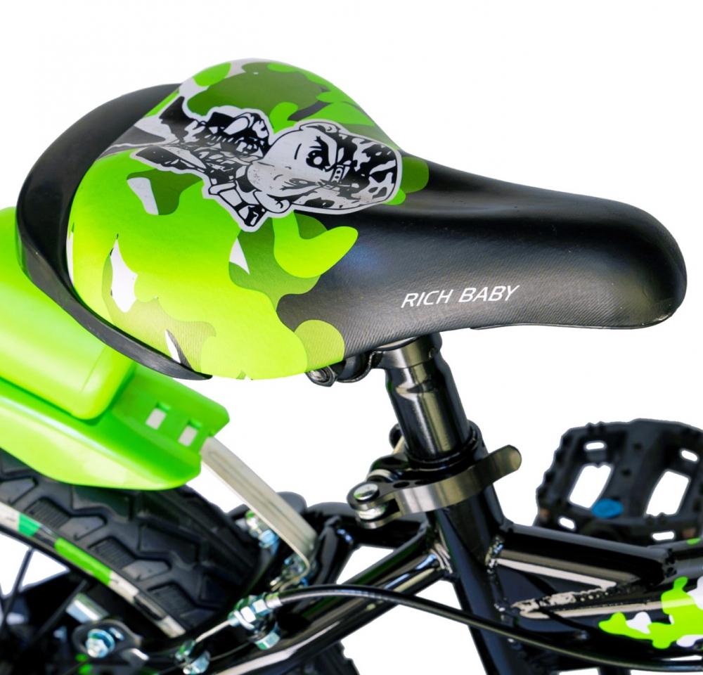 Bicicleta baieti Rich Baby R16WTA 16 inch cu roti ajutatoare si led 4-6 ani negruverde