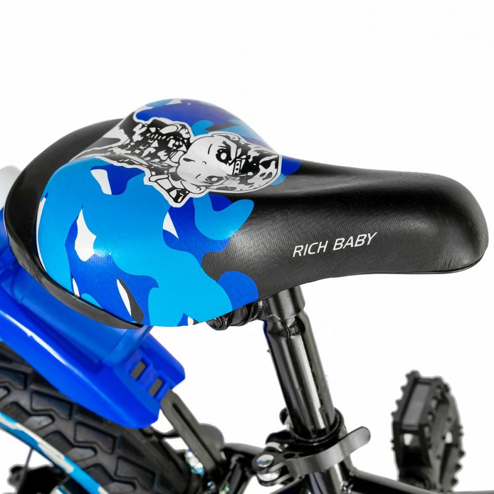 Bicicleta baieti Rich Baby R18WTA 18 inch cu roti ajutatoare si led 5-7 ani negrualbastru