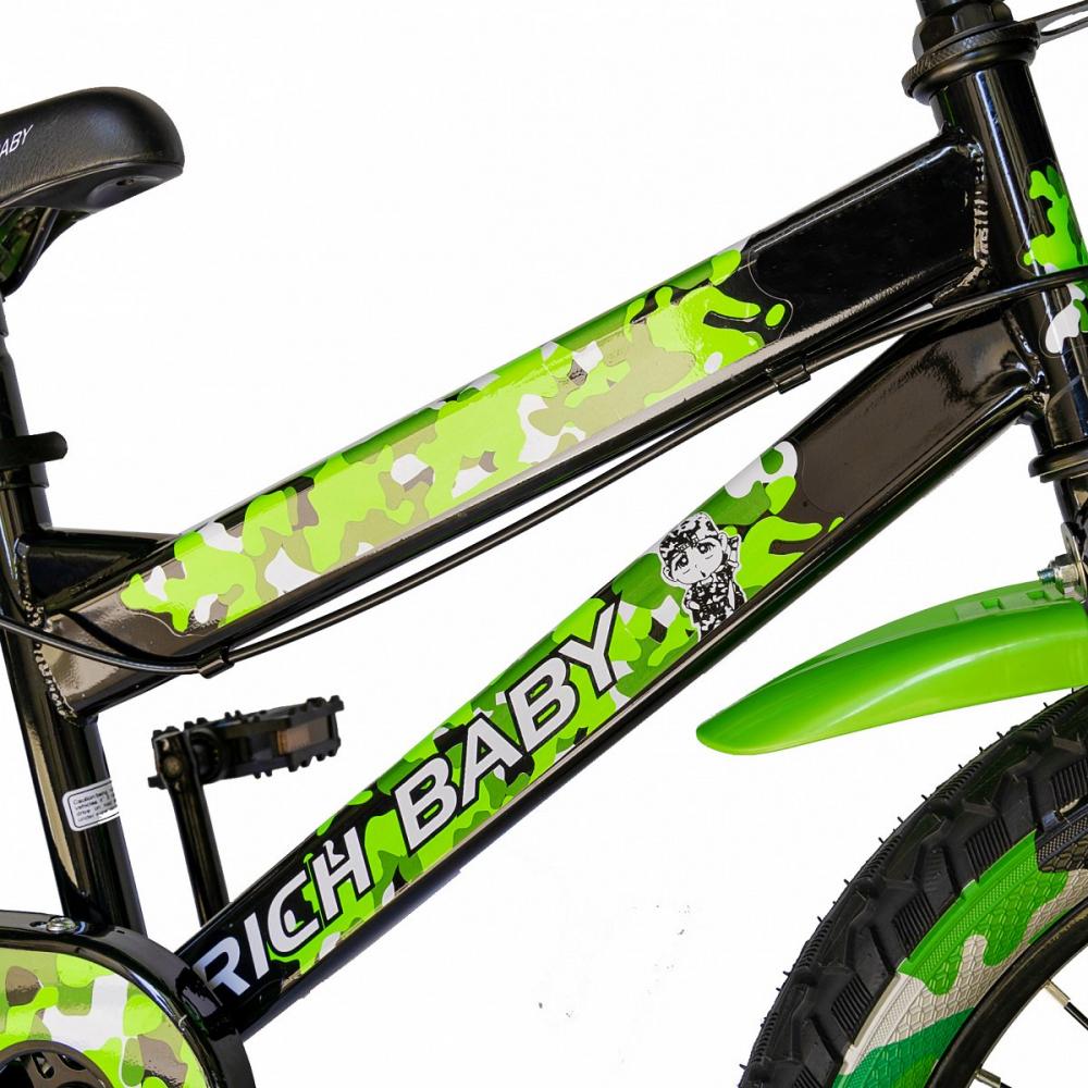 Bicicleta baieti Rich Baby R18WTA 18 inch cu roti ajutatoare si led 5-7 ani negruverde
