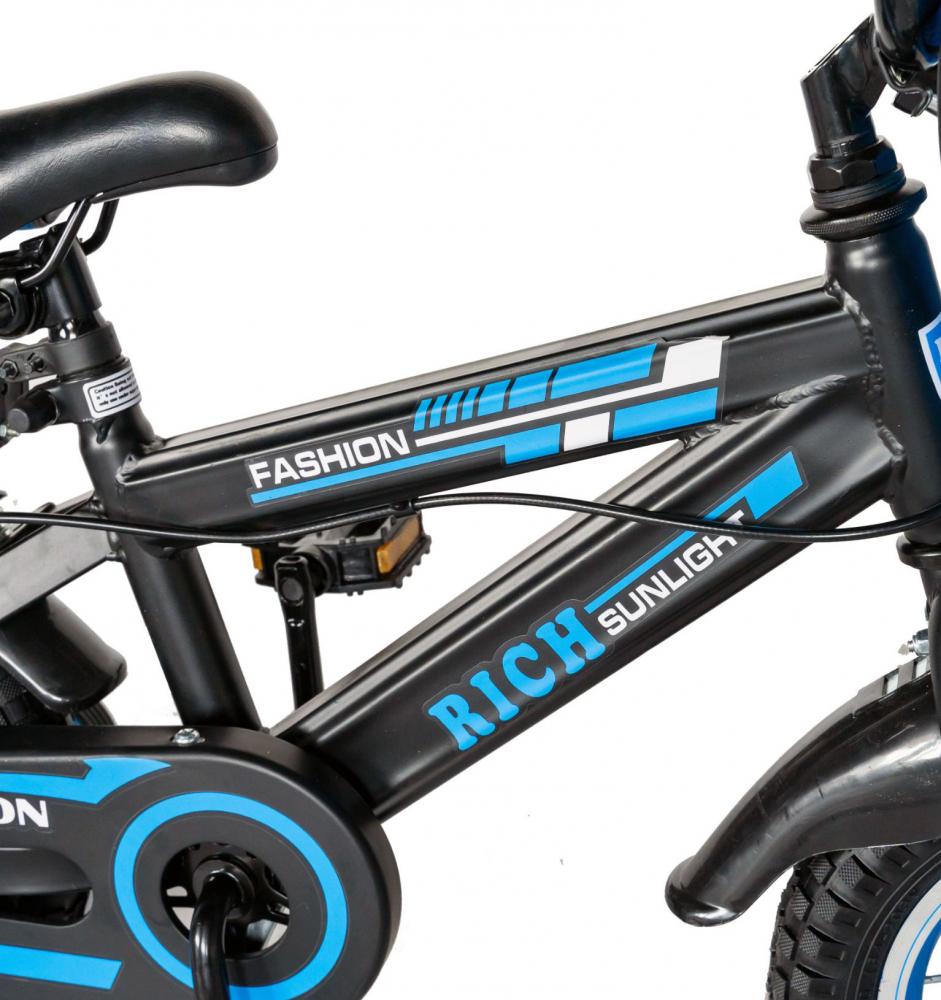 Bicicleta baieti Rich Baby T1602C 16 inch C-Brake cu roti ajutatoare 4-6 ani negrualbastru