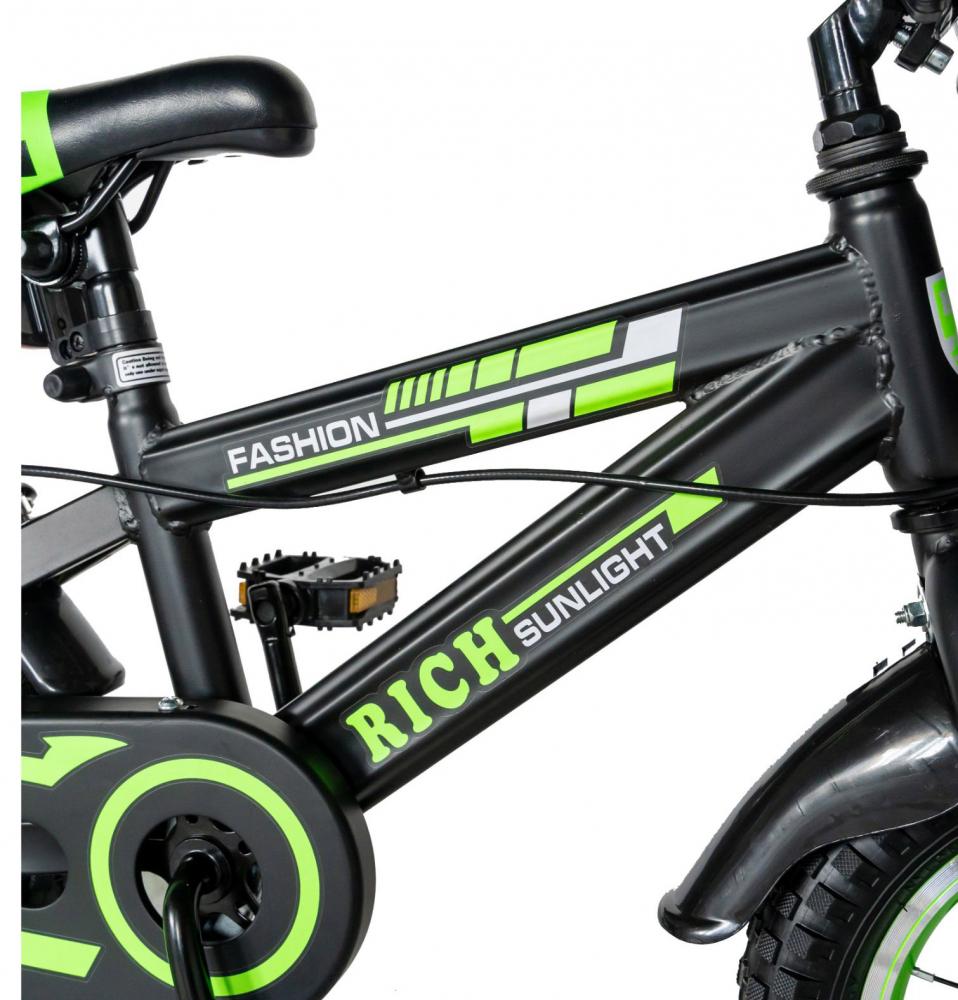 Bicicleta baieti Rich Baby T1602C 16 inch C-Brake cu roti ajutatoare 4-6 ani negruverde