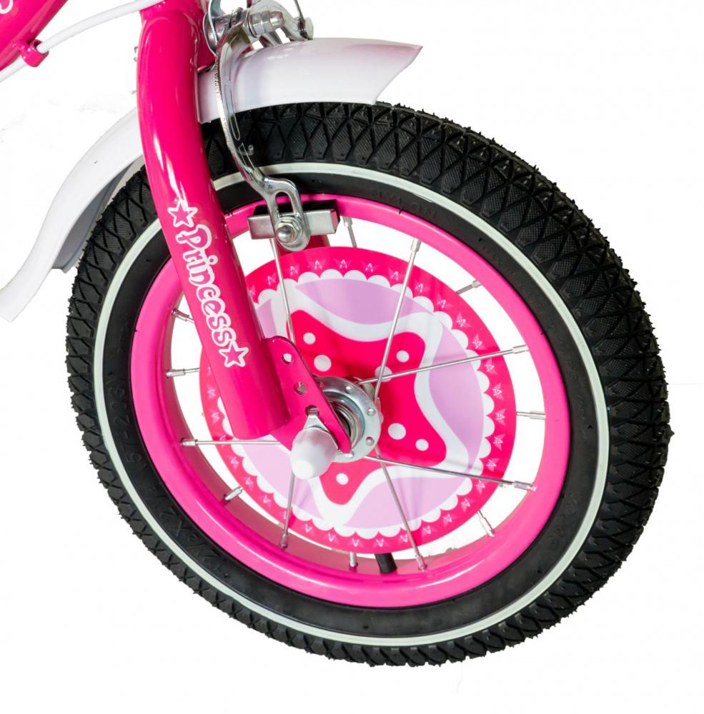 Bicicleta fete Rich Baby T1201C 12 inch C-Brake cu roti ajutatoare 2-4 ani fucsiaalb