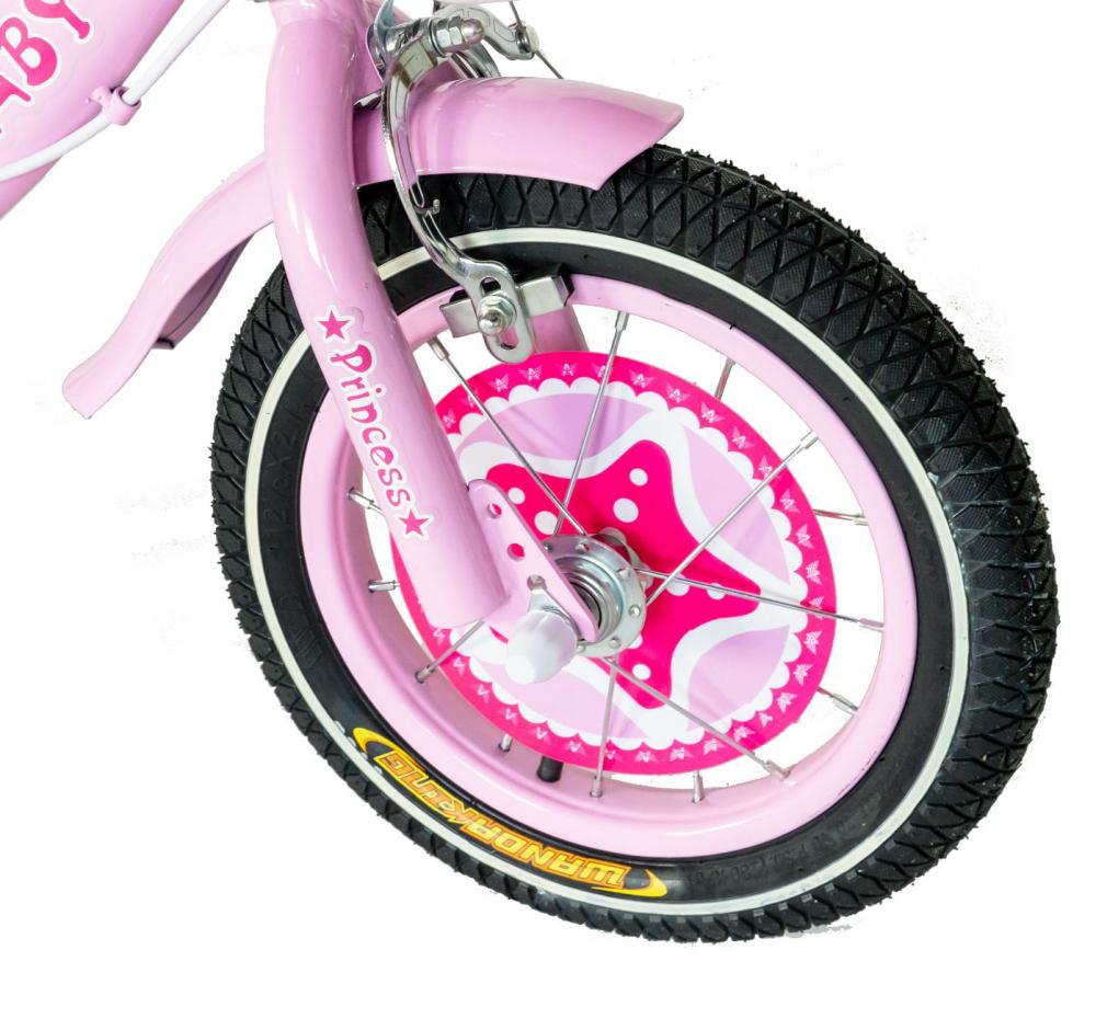 Bicicleta fete Rich Baby T1201C 12 inch C-Brake cu roti ajutatoare 2-4 ani rozalb