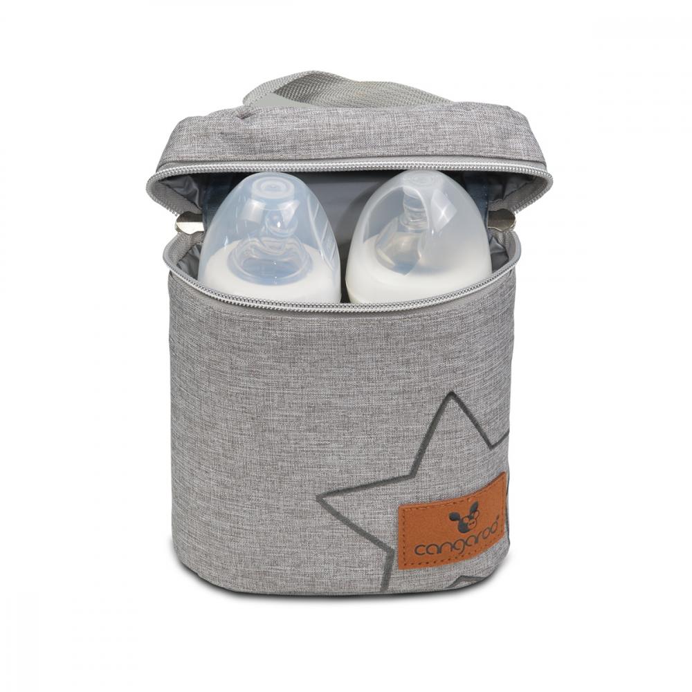 Gentuta Cangaroo termoizolanta Charlie Light Grey pentru biberoane imagine