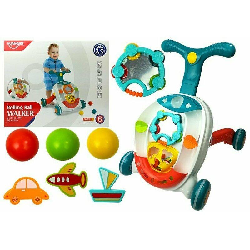 Antepremergator si centru de activitati cu bile multicolore Huanger Toys