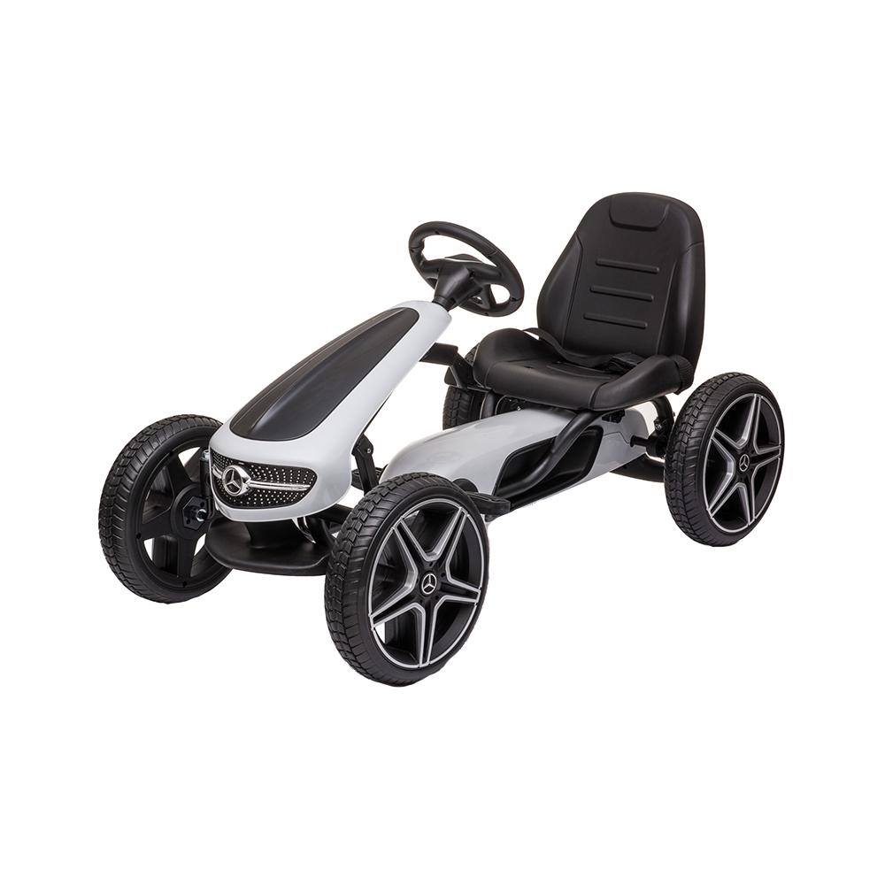 Kart cu pedale si roti EVA Mercedes Benz White imagine