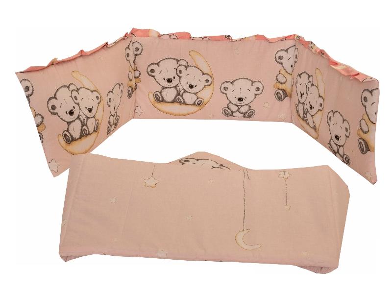 Lenjerie Bear On Moon Pink M1 4+1 piese 140x70 imagine