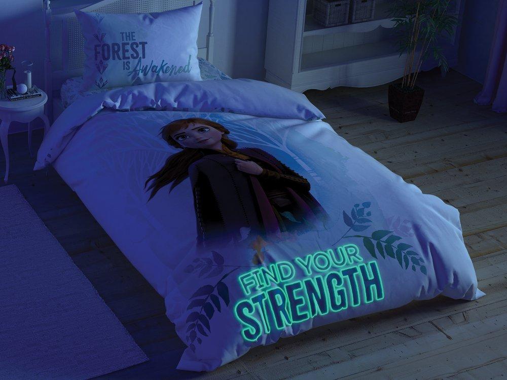 Lenjerie de pat Tac Frozen II Ana si Elsa Fosforescenta Disney