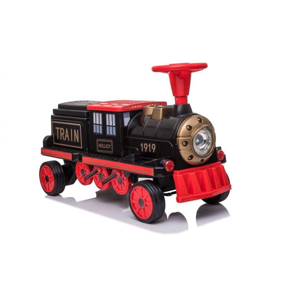 Locomotiva de tren electric pentru copii + un vagon cu motor negru imagine