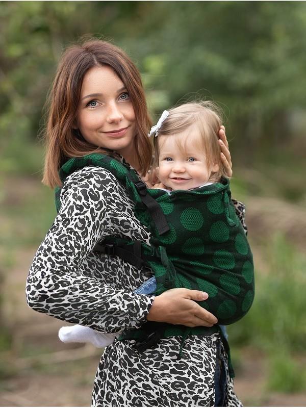 Marsupiu ergonomic Kinder Hop Multi Soft Dots Green