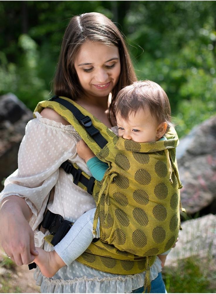 Marsupiu ergonomic Kinder Hop Multi Soft Dots Yellow