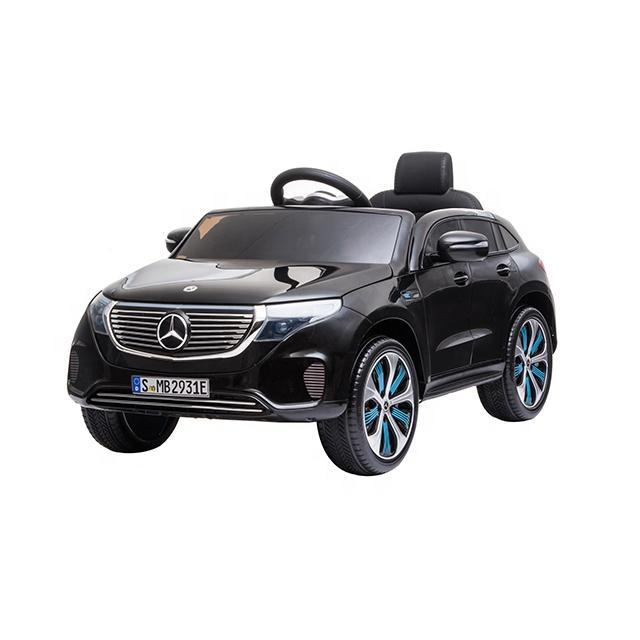 Masinuta electrica 12V cu scaun de piele si roti EVA Mercedes Benz EQC400 Black