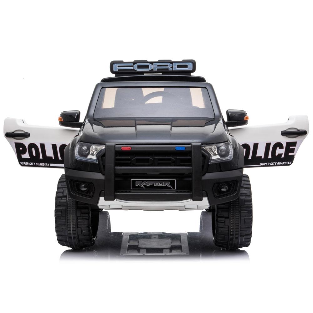 Masinuta electrica cu roti din cauciuc Ford Raptor Police negru