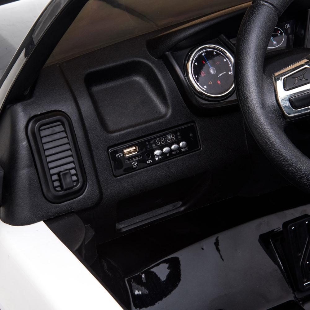 Masinuta electrica cu roti din cauciuc Ford Raptor Police alb - 1