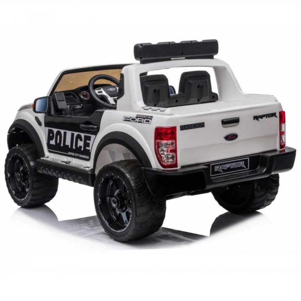 Masinuta electrica cu roti din cauciuc Ford Raptor Police alb - 5