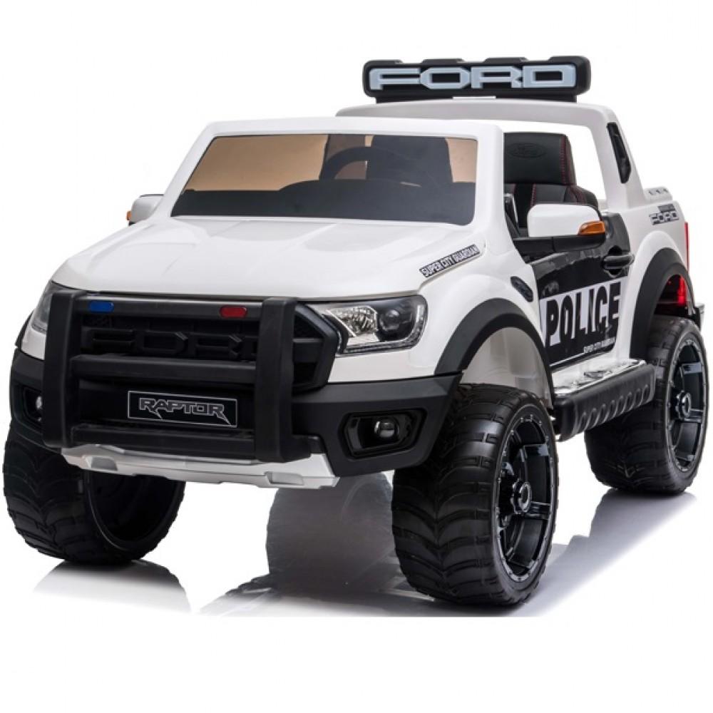 Masinuta electrica cu roti din cauciuc Ford Raptor Police alb - 6