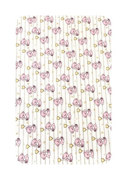 Paturica dubla de vara Junior DeLuxe 100x135 cm Ursi cu inimioare roz