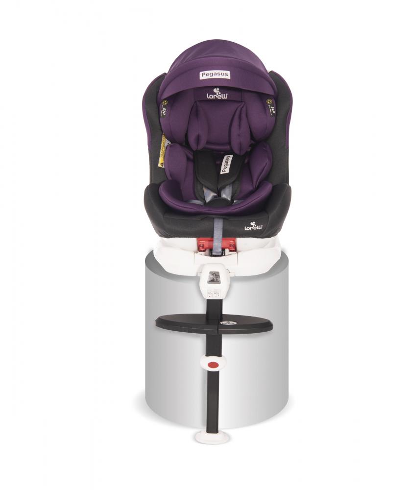 Scaun auto Pegasus baza isofix si picior de fixare 0-36 kg rotativ 360 grade Grey Violet