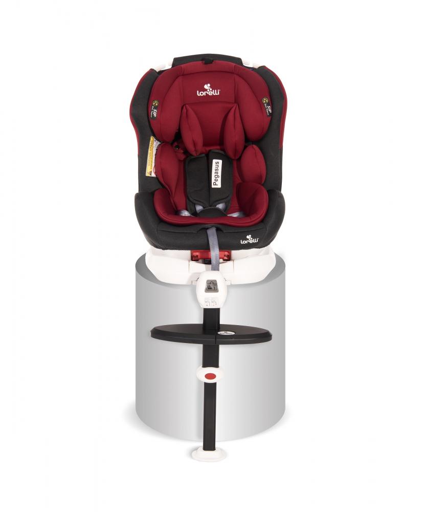 Scaun auto Pegasus baza isofix si picior de fixare 0-36 kg rotativ 360 grade Red Black