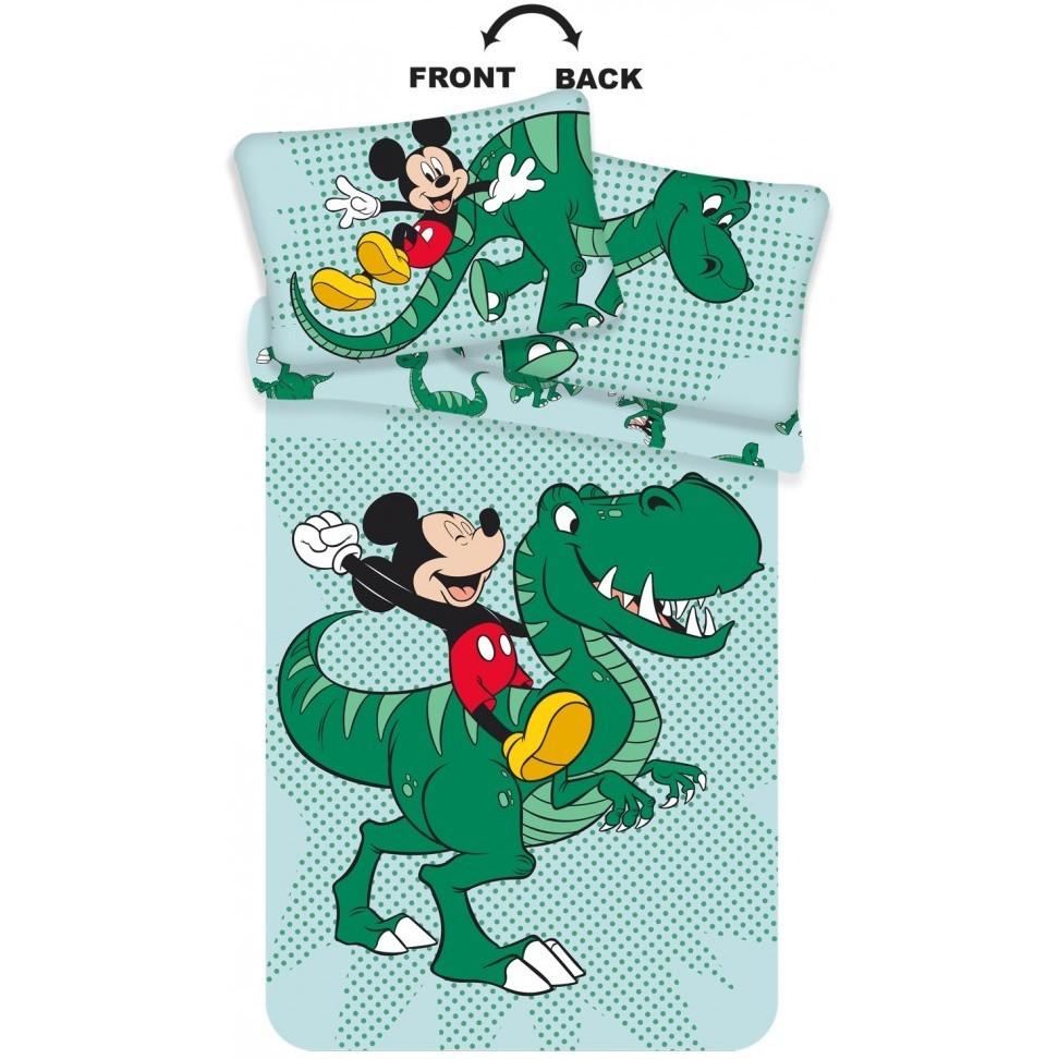 Set lenjerie pat copii Mickey Dino 100x135 + 40x60 SunCity JFK024775 imagine