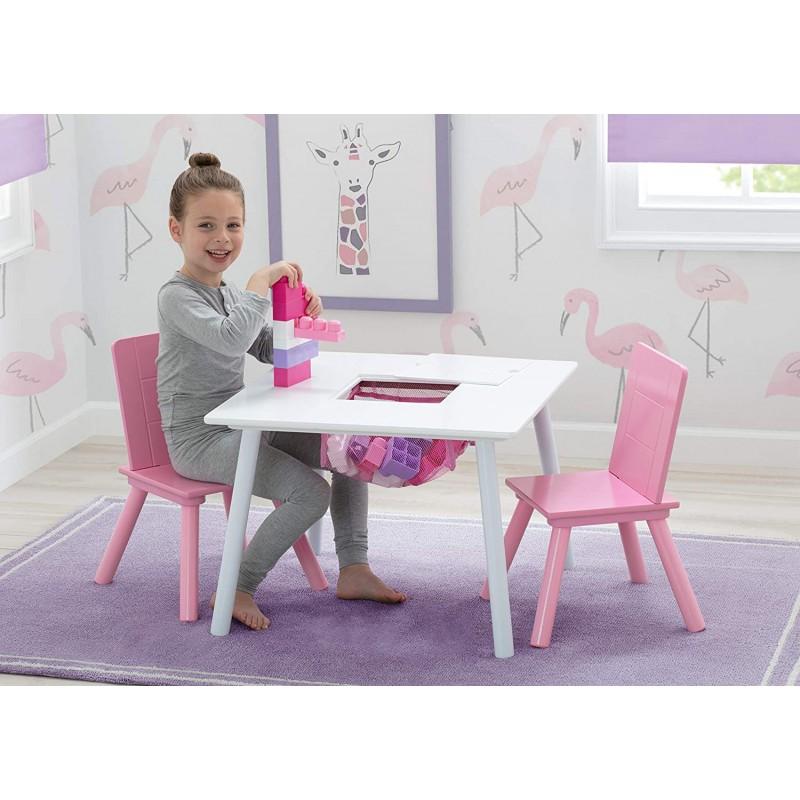 Set masuta multifunctionala si 2 scaunele WhitePink imagine