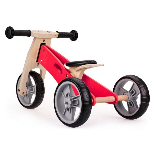 Tricicleta Ecotoys cu pedale 2 in 1 din lemn roz