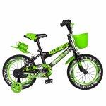 Bicicleta baieti Rich Baby R14WTA 14 inch cu roti ajutatoare si led 3-5 ani negru/verde