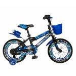 Bicicleta baieti Rich Baby R14WTA 14 inch cu roti ajutatoare si led 3-5 ani negru/albastru