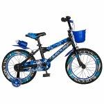 Bicicleta baieti Rich Baby R16WTA 16 inch cu roti ajutatoare si led 4-6 ani negru/albastru