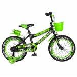 Bicicleta baieti Rich Baby R16WTA 16 inch cu roti ajutatoare si led 4-6 ani negru/verde