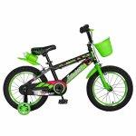 Bicicleta baieti Rich Baby R16WTB 16 inch cu roti ajutatoare 4-6 ani negru/verde