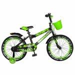 Bicicleta baieti Rich Baby R18WTA 18 inch cu roti ajutatoare si led 5-7 ani negru/verde