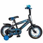 Bicicleta baieti Rich Baby T1202C 12 inch C-Brake cu roti ajutatoare 2-4 ani negru/albastru