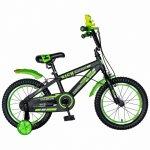Bicicleta baieti Rich Baby T1602C 16 inch C-Brake cu roti ajutatoare 4-6 ani negru/verde
