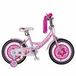 Bicicleta fete Rich Baby T1601 16 inch C-Brake cu roti ajutatoare 4-6 ani roz/alb