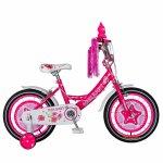 Bicicleta fete Rich Baby T1601C 16 inch C-Brake cu roti ajutatoare 4-6 ani fucsia/alb