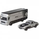Camion Hot Wheels by Mattel Car Culture Euro Hauler cu masina Mercedes-Benz 300 SL