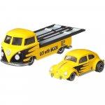 Camion Hot Wheels by Mattel Car Culture Volkswagen Transporter T1 Pickup cu masina Volkswagen Classic Bug