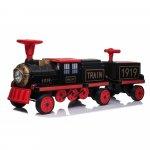 Locomotiva de tren electric pentru copii + un vagon fara motor negru