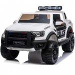 Masinuta electrica cu roti din cauciuc Ford Raptor Police alb