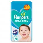 Scutece Pampers Active Baby Jumbo Pack Marimea 4+ 10 -15 kg  58 buc