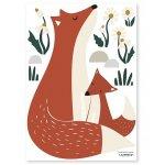 Sticker A3 (29 7x42cm) Fox Family