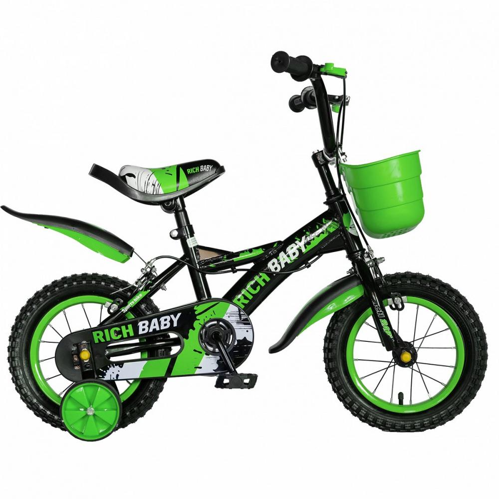 Bicicleta baieti Rich Baby T1204C 12 inch C-Brake cu roti ajutatoare 2-4 ani negruverde