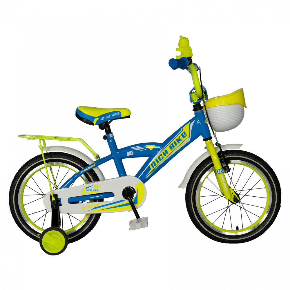 Bicicleta baieti Rich Baby T1603C 16 inch V-Brake cu roti ajutatoare 4-6 ani albastrugalben