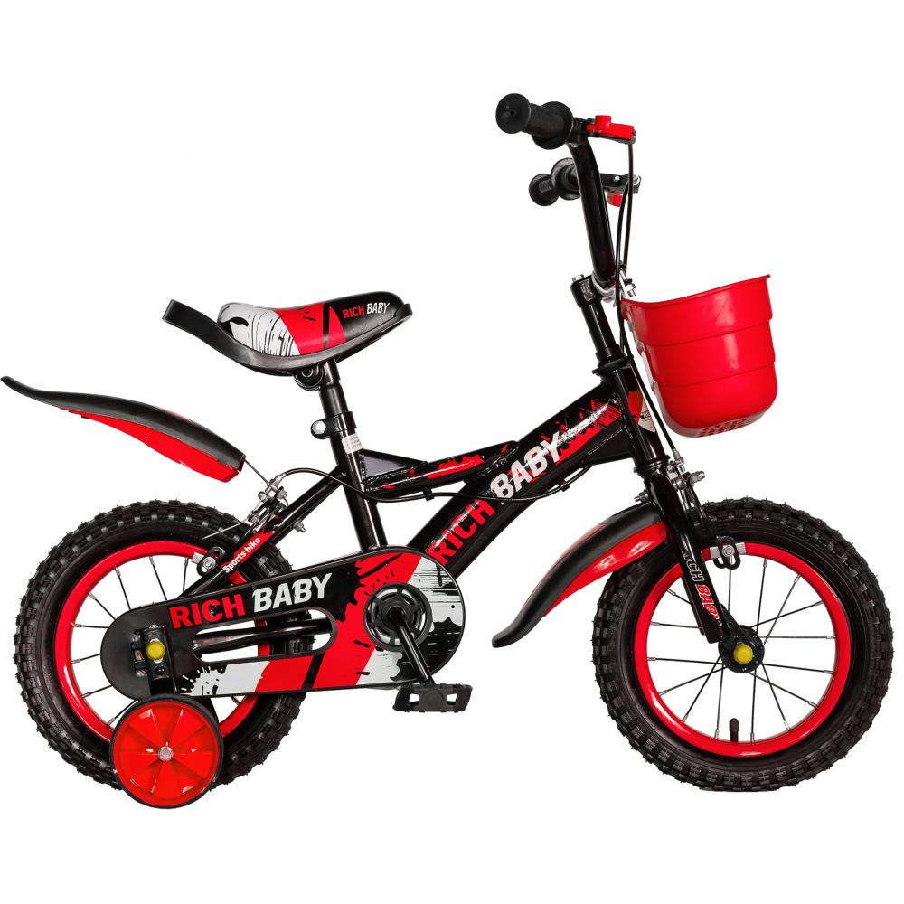 Bicicleta baieti Rich Baby T1604C 16 inch C-Brake cu roti ajutatoare 4-6 ani negrurosu